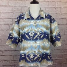 Vintage Roper Western Top Women Small Aztec Button Boxy Oversize Shirt Blue