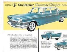 STUDEBAKER COMMANDER AND CHAMPION MODELS CAR BROCHURE/SHEET USA MARKET MID 50s