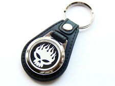 THE OFFSPRING White Skull American Rock Band Quality Leather and Chrome Keyring