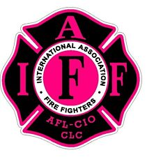 "4"" IAFF Decal Black with Hot Pink Trim Exterior Mount Please Read Auction"