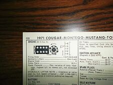 1971 Mercury, Cougar and Ford & Mustang 285 HP 351 C V8 4BBL SUN Tune Up Chart
