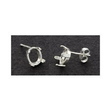 (6x4mm - 9x7mm) Oval Low Profile Solid Sterling Silver Cast Earring Settings