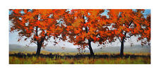 LARGE SUMMER TREES PAINTING COMMISSIONED LONG HORIZONTAL ARTWORK LANDSCAPE