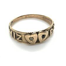 Antique Victorian Mizpah rose diamond sapphire double heart ring #117