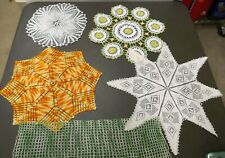 5 Vintage Hand Crocheted doilies doily
