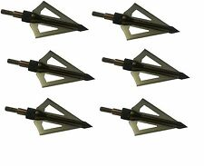 Broadhead Hunting Arrow 6PC Set 100 Grain 3 Blade Long Compounds Crossbows