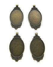 4 Antiqued Goldtone Rose style 40mm x 30mm CAMEO Costume PENDANTS Frame Settings