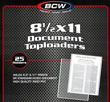 25 BCW 8.5X11 Rigid Topload Holder Photo Menu And 25 New 8 1/2 X 11 Poly Sleeves