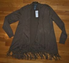 NWT Womens Chelsea & Theodore Brown Fringe Open Front Cardigan Size SMALL