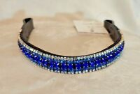 Blue & Silver 5 row Crystal Browband Black Brown XP Pony cob Full XF (67)
