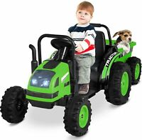 Kids Electric Ride On Tractor with Trailer w/Detachable Wagon w/RC Green
