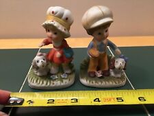 Homco Girl and Boy with Puppies Ceramic Figurines