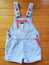 Vintage Toddler Lee Striped Denim Blue & Red Shortall 3T Made In Usa