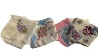 Vintage Floral Ladies Handkerchiefs Lot Of Four Cotton