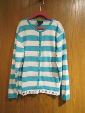 Oscar de la Renta Blue Cotton Cardigan Sweater Size 12Y
