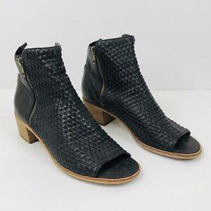 SILENT D by Django & Juliette Black Woven Leather Peep Toe Heeled Emaze Boots 41