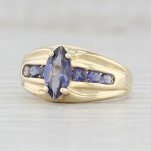 1.35ctw Purple Blue Iolite Ring 14k Yellow Gold Size 8.5 Marquise