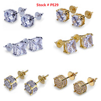 Men Square Round Solitaire Hip Hop Gold Diamond Screw Back Stud Earrings 8/6/4mm