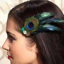 Fashion Peacock Feather Hair Clip Rhinestones Weddings Hairpins Women Headwear