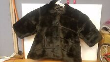 The Childrens Place Girls Faux Fur Jacket with Hood Sz 12 Months Black