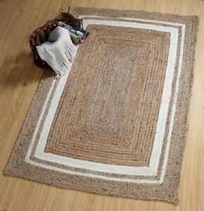 KHIDAKEE Braided Area Rug Jute with Cream Border Small Medium Large Rug Runner