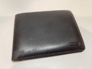 Vintage Coach Black Leather Men's Wallet Bifold Billfold W/ Removable ID Holder