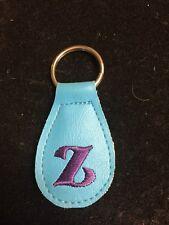 Quality Embroidered Vinyl Key Ring  Letter Z Light Blue & Dark Purple