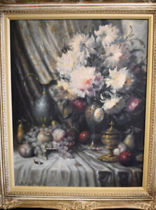 Bela Balogh (Hungarian 1909-1980) Oil On Canvas Still Life Free Shipping