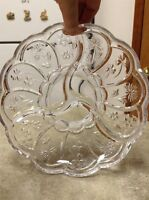 "Flowered Clear Glass 9"" Plate Platter Serving Tray Condiment Sectioned Server"