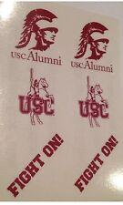 ✌️USC TROJANS Alumni Stickers DECALS Face Tattoos Trojan Logo SET of (6) *Rare*