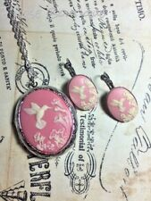 #JRB824 PINK  Hummingbird Cameo Locket French earring Silver Photo CHRISTMAS