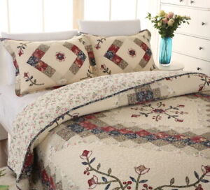 VICTORIAN TREASURES Full Queen QUILT SET : CREAM IVORY RED FLORAL COUNTRY CHIC