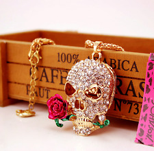Fashion Betsey Johnson pendant jewelry Roses skully rhinestone hot necklaces