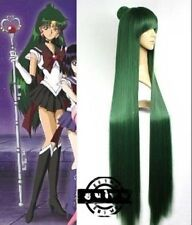 Beautiful dark green long straight sailor moon cosplay wig+hairnet