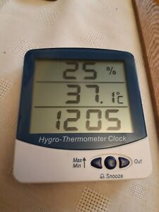 Lab Thermco ACC9216 DIG Hygro Thermometer Hygrometer  With Alarm Clock