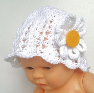 BABY GIRLS DAISY SUN HAT 100% cotton new shower gift crochet summer flower cap