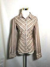 DCC Medium Women's Shirt Button Down Stripe Brown Easy Care Stretch Long Sleeve