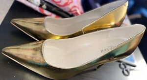 """Pleaser Classique 4"""" Gold pumps Size 13 Heels Sexy Stiletto Without Box See Pics"""