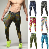 Mens Soft Outdoor Camouflage Sports Tights Bodybuilding Jogging Casual Pants US