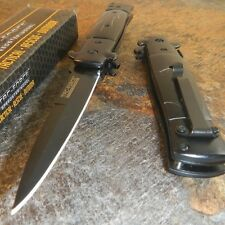 TAC-FORCE Spring Speed Assisted Black White Swirl Celluloid STILETTO Knife NEW!!
