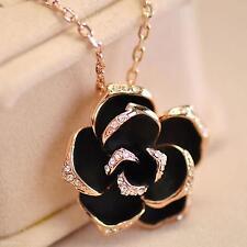Charming Women Lady Black Rose Flower Diamond Pendant Chain Clavicle Necklace