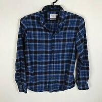 Goodfellow Flannel Shirt Mens Size M Blue Black Standard Fit Long Sleeve Cotton