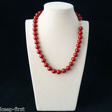 New Fashion 8mm Natural Red South Sea Shell Pearl Necklace 18' Jewelry
