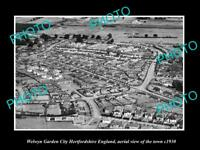 OLD HISTORIC PHOTO OF WELWYN GARDEN CITY ENGLAND, AERIAL VIEW OF TOWN c1930 2