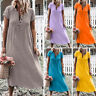 Summer Womens Boho Casual Solid V-Neck Linen Short Sleeve Long Maxi Dress Plus