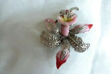 VINTAGE JEWELLERY STYLISH  ENAMELLED MARCASITE LILY BROOCH PIN CLIP