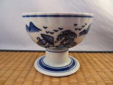 Vintage Japanese Arita Imari Porcelain Footed Bowl Blue White Landscape Japan D