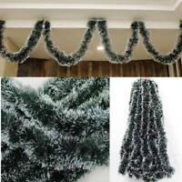 5x 2.5M Christmas Snow Tips Dark Green Tinsel Garland Snowflakes Decor Ornaments