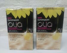 2 Boxes GARNIER OLIA OIL PERMANENT HAIR COLOR 9 1/2.1 Lightest Cool Blonde Read!