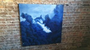 Huge Original 1970's Abstract Oil Painting on Canvas in Blue. 4ft x 4 ft